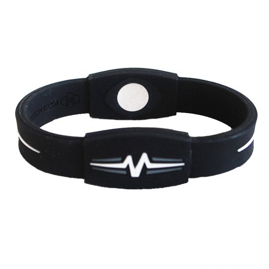 "Mojo Wristband Elite Double Holographic | 8"" Black - White - Grey - Click Image to Close"
