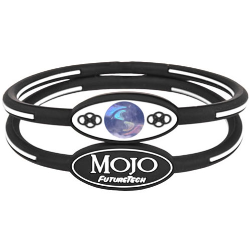 Mojo Wristband Single holographic | 7 inch Black - White - Click Image to Close