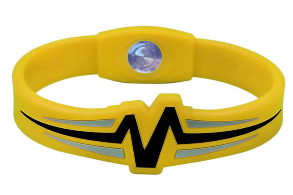 Mojo Wristband Raptor Double holographic | 8 inch Yellow - Black - Grey - Click Image to Close
