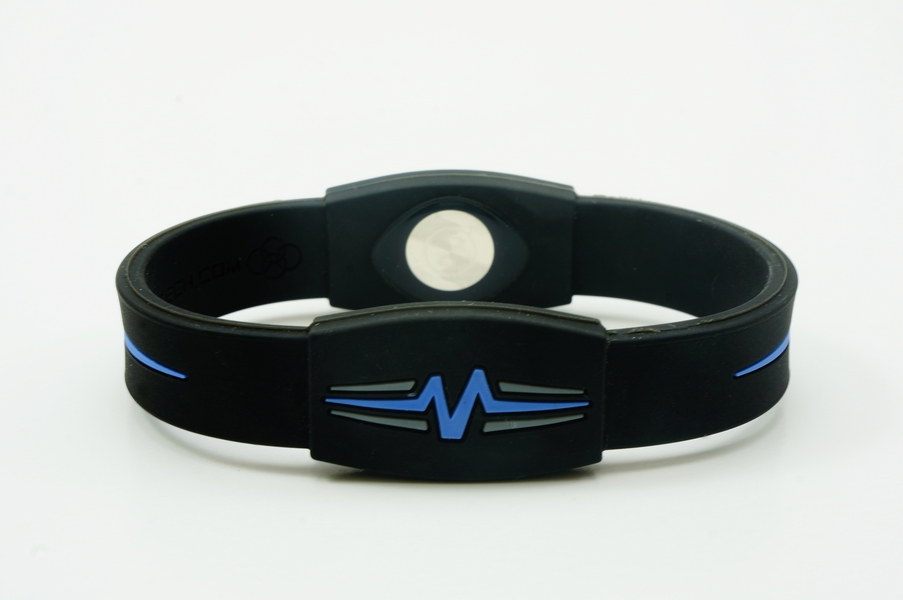 "Mojo Wristband Elite Double Holographic | 8"" Black - Blue - Grey - Click Image to Close"