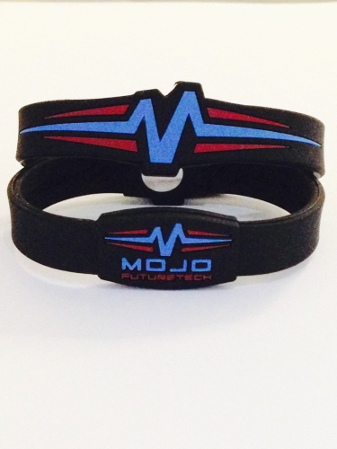 Mojo Wristband Raptor Double holographic | 7 inch Blk-Blue-Red - Click Image to Close