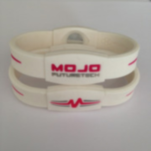 "Mojo Wristband Elite Double Holographic | 7"" White - Pink - Grey - Click Image to Close"
