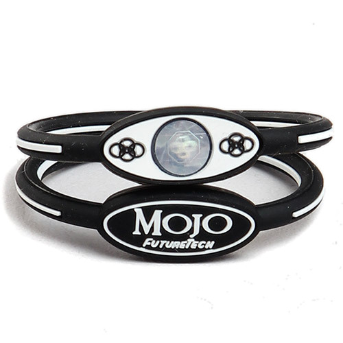Mojo Wristband Single holographic | 6 inch Black - White - Click Image to Close