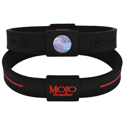 Mojo Wristband Max Double holographic | 8 inch Black - Red - Click Image to Close