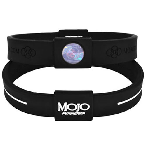 Mojo Wristband Max Double holographic | 8 inch Black - White - Click Image to Close
