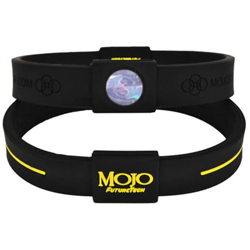 Mojo Wristband Max Double holographic | 8 inch Black - Yellow - Click Image to Close