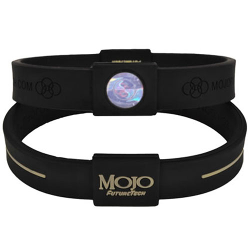 Mojo Wristband Max Double holographic | 8 inch Black - Grey - Click Image to Close